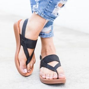 Nadia Black Thong Slingback Sandals